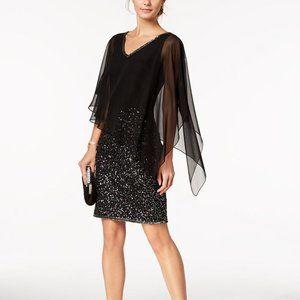 NEW J Kara Poncho Overlay Sequin Sheath Dress 12